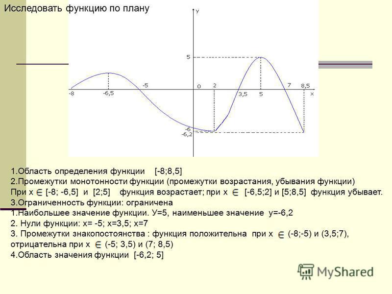 1. Область определения функции [-8;8,5] 2. Промежутки монотонности функции (промежутки возрастания, убывания функции) При х [-8; -6,5] и [2;5] функция возрастает; при х [-6,5;2] и [5;8,5] функция убывает. 3. Ограниченность функции: ограничена 1. Наиб