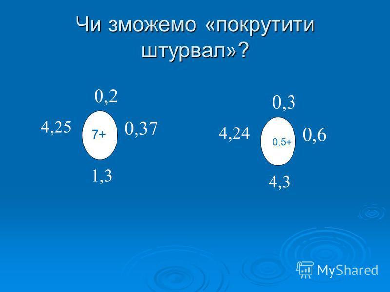 Чи зможемо «покрутити штурвал»? 7+ 0,2 4,25 0,37 1,3 7+ 0,3 4,24 0,6 4,3 0,5+