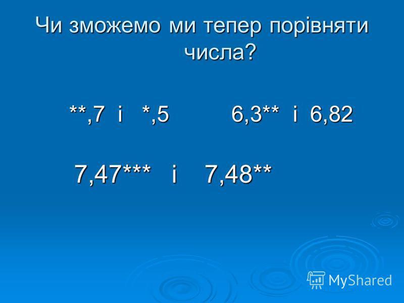 Чи зможемо ми тепер порівняти числа? **,7 і *,5 6,3** і 6,82 **,7 і *,5 6,3** і 6,82 7,47*** і 7,48** 7,47*** і 7,48**