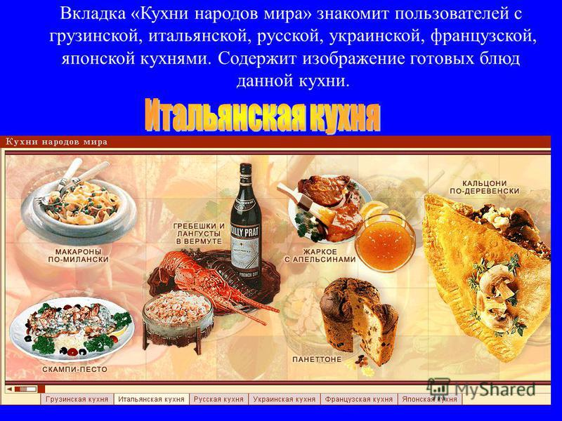Вкладка «Кухни народов мира» знакомит пользователей с грузинской, итальянской, русской, украинской, французской, японской кухнями. Содержит изображение готовых блюд данной кухни.