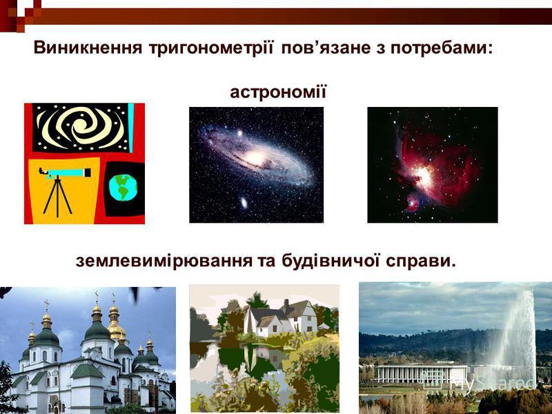 Виникнення тригонометрії повязане з потребами: астрономії землевимірювання та будівничої справи.