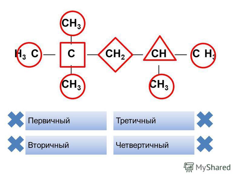 CH 3 H3H3 С C CH 2 CH CH3H3 CH 3 Первичный Вторичный Третичный Четвертичный