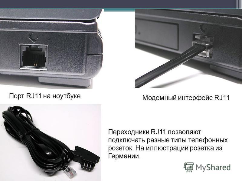 Порт RJ11 на ноутбуке Модемный интерфейс RJ11 Переходники RJ11 позволяют подключать разные типы телефонных розеток. На иллюстрации розетка из Германии.