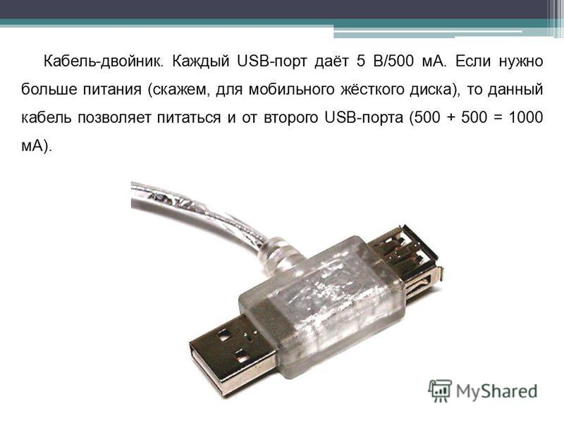Кабель-двойник. Каждый USB-порт даёт 5 В/500 мА. Если нужно больше питания (скажем, для мобильного жёсткого диска), то данный кабель позволяет питаться и от второго USB-порта (500 + 500 = 1000 мА).
