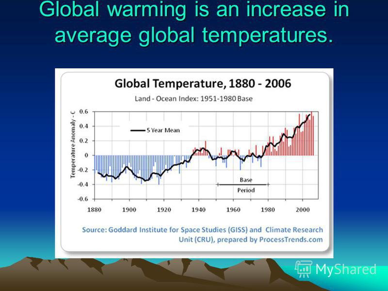 Global warming is an increase in average global temperatures.