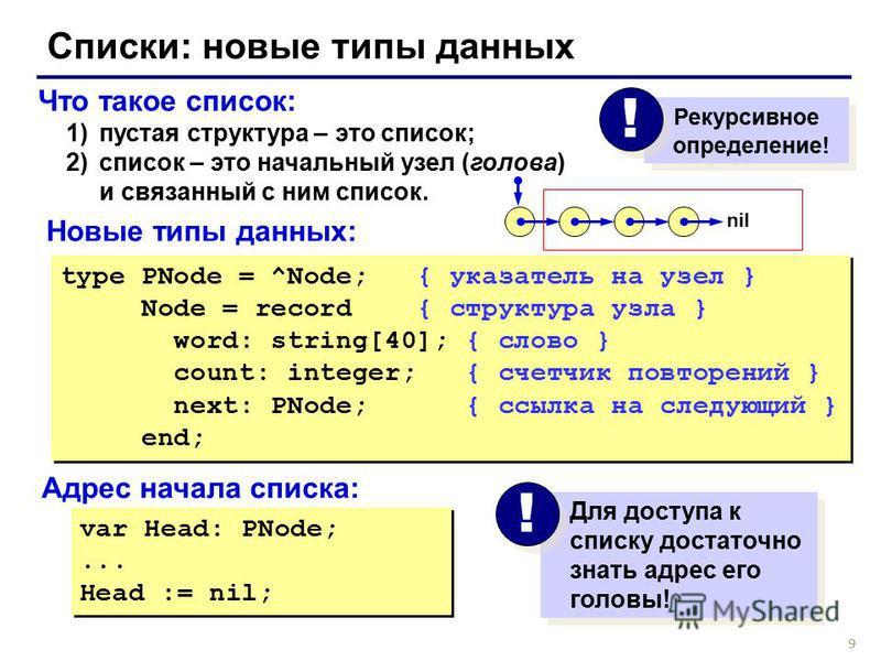 9 Что такое список: 1)пустая структура – это список; 2)список – это начальный узел (голова) и связанный с ним список. Списки: новые типы данных type PNode = ^Node; { указатель на узел } Node = record { структура узла } word: string[40]; { слово } cou
