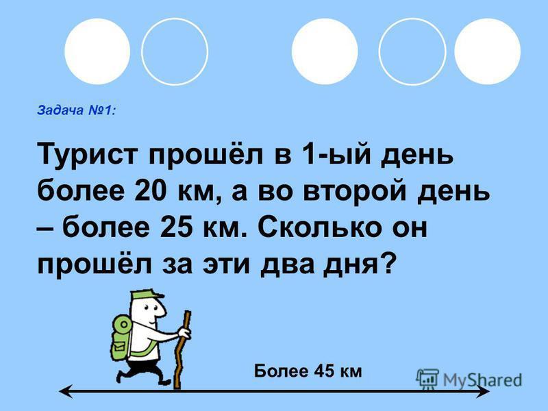 Задача 1: Турист прошёл в 1-ый день более 20 км, а во второй день – более 25 км. Сколько он прошёл за эти два дня? Более 45 км