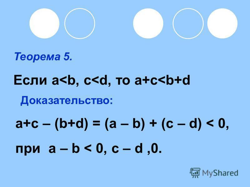 Теорема 5. Если а<b, c<d, то a+c<b+d a+c – (b+d) = (a – b) + (c – d) < 0, при a – b < 0, c – d,0. Доказательство: