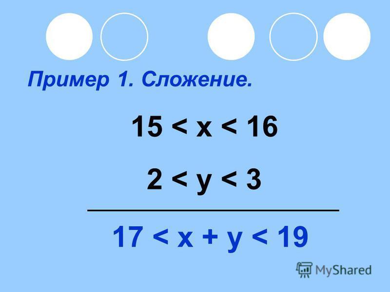 Пример 1. Сложение. 15 < x < 16 2 < y < 3 17 < x + y < 19