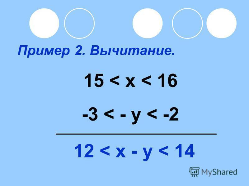 Пример 2. Вычитание. 15 < x < 16 -3 < - y < -2 12 < x - y < 14