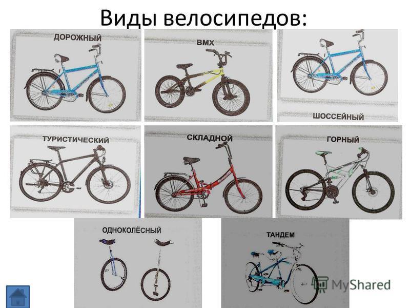 Виды велосипедов: