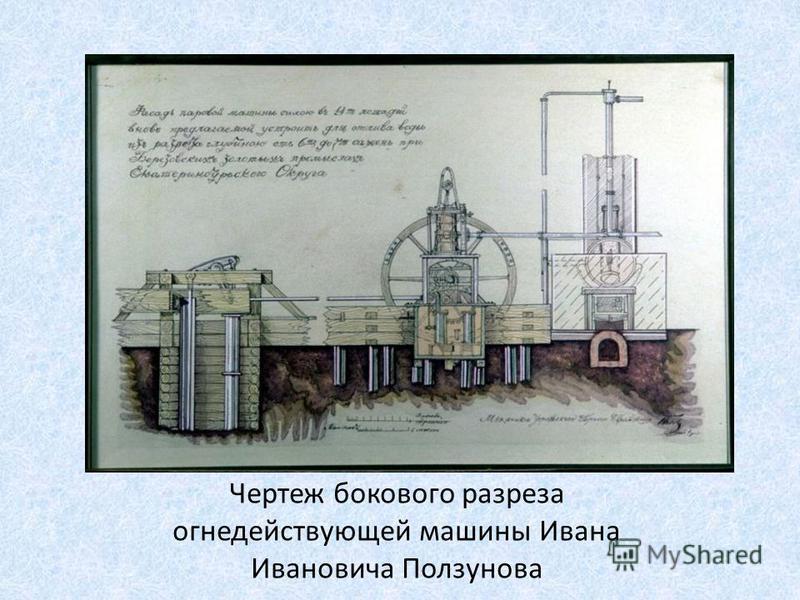 Чертеж бокового разреза огне действующей машины Ивана Ивановича Ползунова