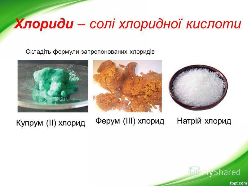 Хлориди – солі хлоридної кислоти Купрум (ІІ) хлорид Ферум (ІІІ) хлорид Складіть формули запропонованих хлоридів Натрій хлорид