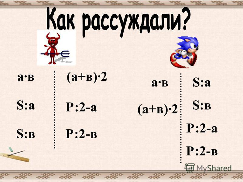 а·в S:в S:a Р:2-в Р:2-а (а+в)·2 а·в (а+в)·2 S:a S:в Р:2-а Р:2-в