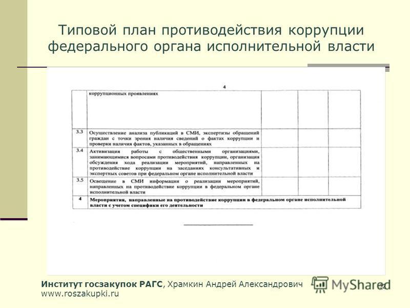 Институт госзакупок РАГС, Храмкин Андрей Александрович www.roszakupki.ru 32 Типовой план противодействия коррупции федерального органа исполнительной власти