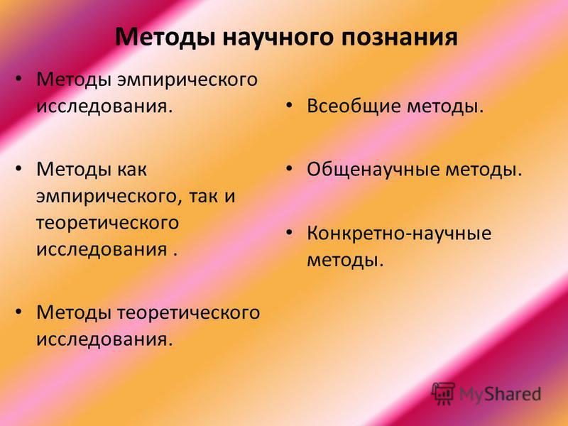 Методы научного познания Методы эмпирического исследования. Методы как эмпирического, так и теоретического исследования. Методы теоретического исследования. Всеобщие методы. Общенаучные методы. Конкретно-научные методы.