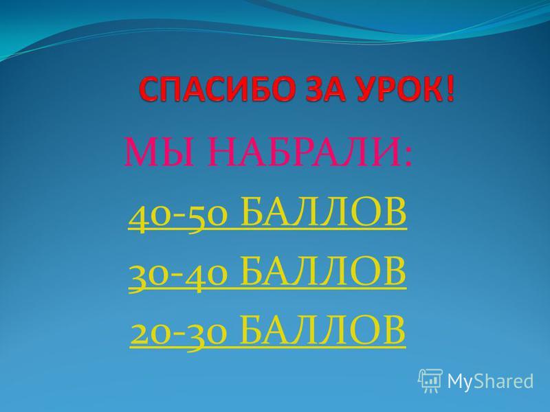 МЫ НАБРАЛИ: 40-50 БАЛЛОВ 30-40 БАЛЛОВ 20-30 БАЛЛОВ