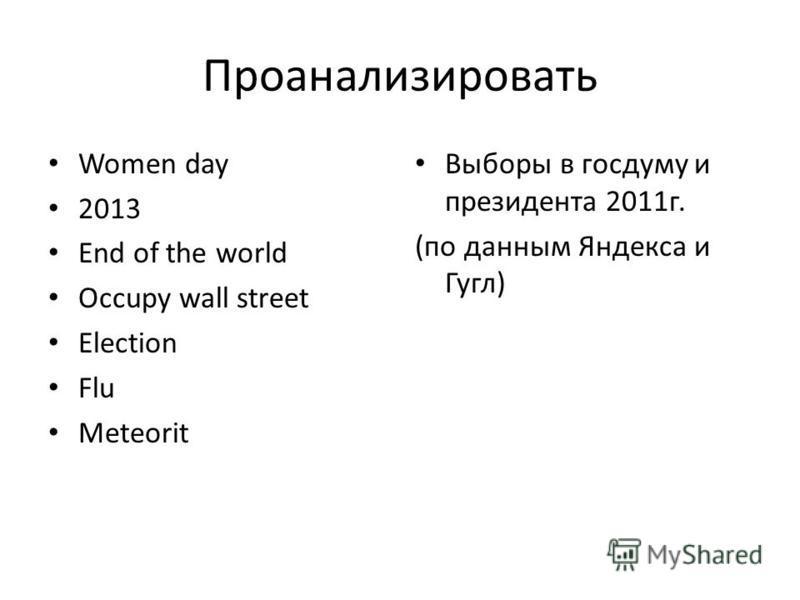 Проанализировать Women day 2013 End of the world Occupy wall street Election Flu Meteorit Выборы в госдуму и президента 2011 г. (по данным Яндекса и Гугл)