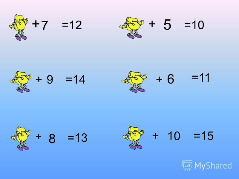 7 + =12 +9 + 8 =14 =13 + 5 =10 + 6 +10=15 =11