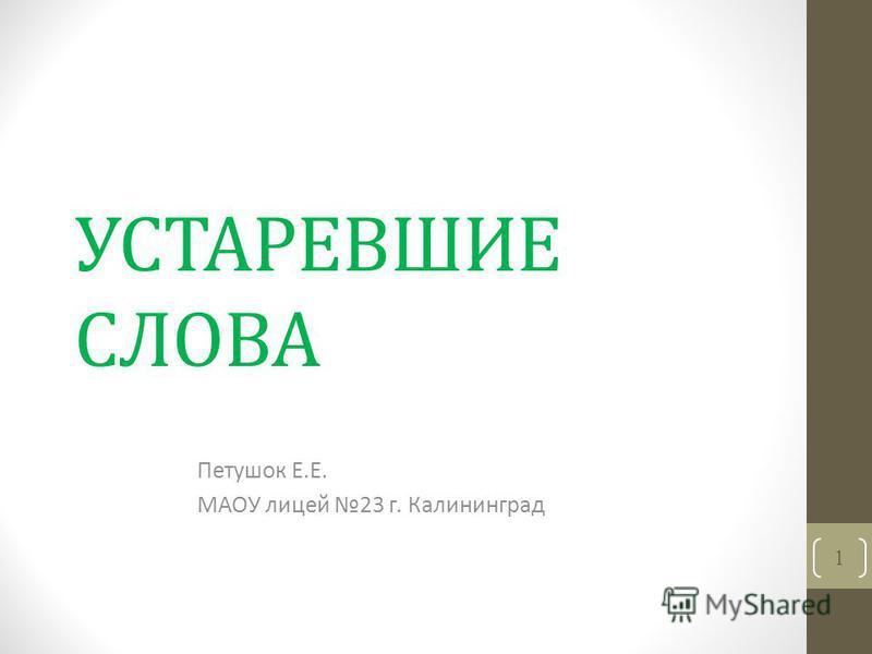 УСТАРЕВШИЕ СЛОВА Петушок Е.Е. МАОУ лицей 23 г. Калининград 1