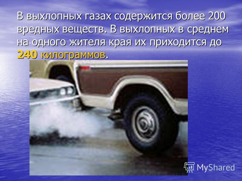 В выхлопных газах содержится более 200 вредных веществ. В выхлопных в среднем на одного жителя края их приходится до 240 килограммов.