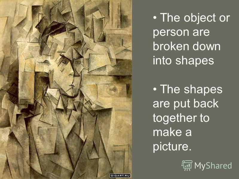 The object or person are broken down into shapes The shapes are put back together to make a picture.