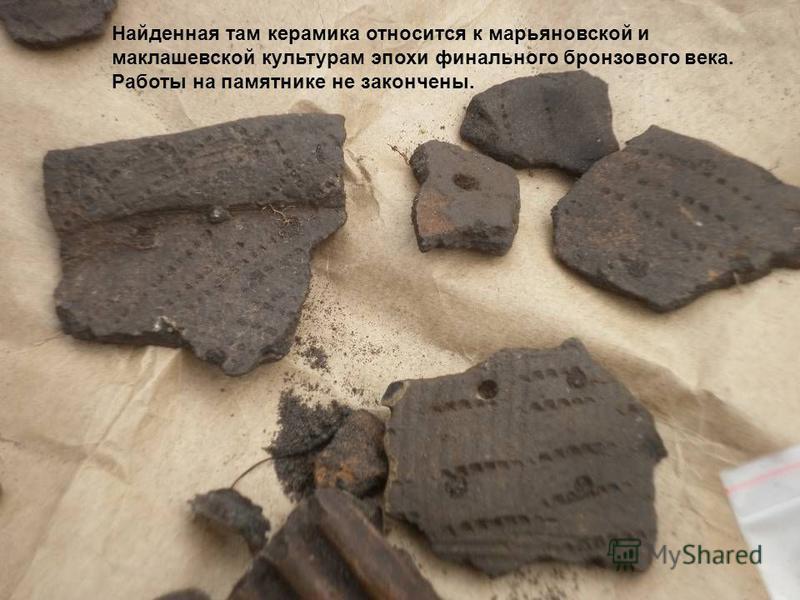 Найденная там керамика относится к марьяновской и миклашевской культурам эпохи финального бронзового века. Работы на памятнике не закончены.