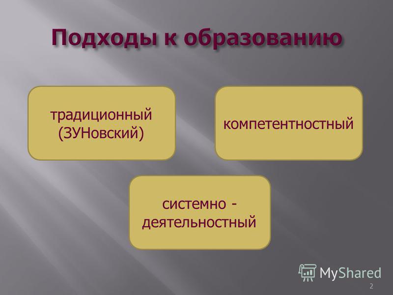 2 традиционный (ЗУНовский) компетентностный системно - деятельностный