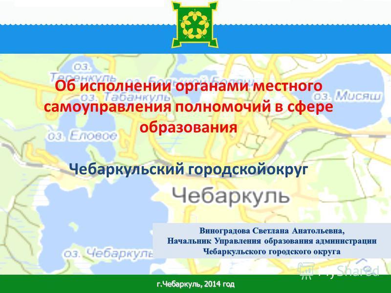 1 Об исполнении органами местного самоуправления полномочий в сфере образования Чебаркульский городской округ г.Чебаркуль, 2014 год