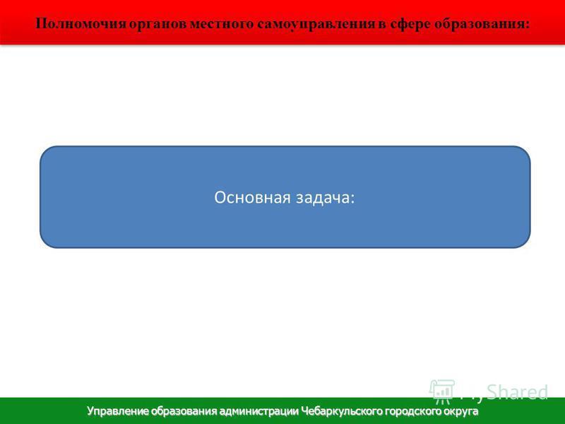 Управление образования администрации Чебаркульского городского округа Полномочия органов местного самоуправления в сфере образования: Основная задача: