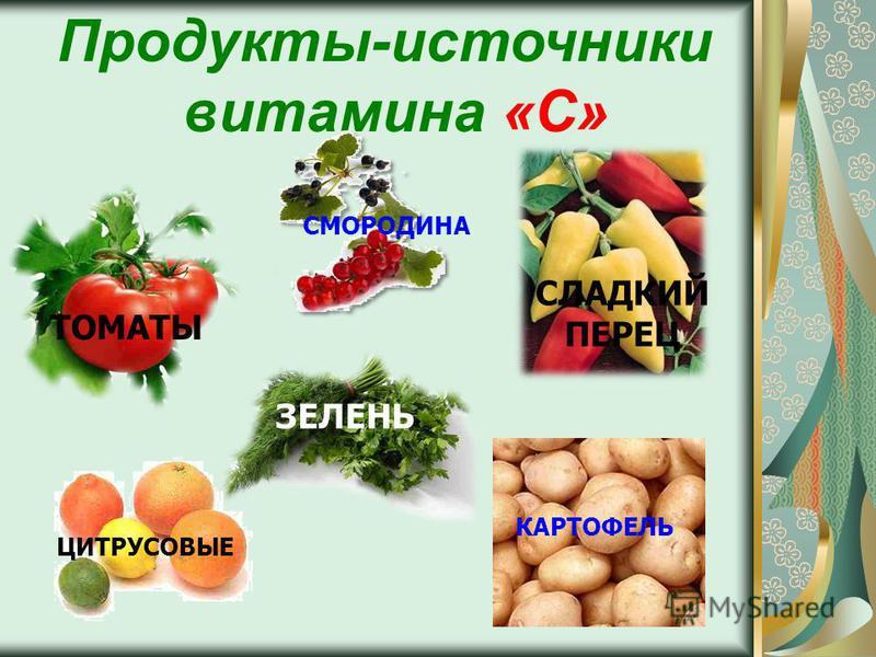Продукты-источники витамина «С» СЛАДКИЙ ПЕРЕЦ ЗЕЛЕНЬ ЩАВЕЛЬ ТОМАТЫ СМОРОДИНА ЦИТРУСОВЫЕ КАРТОФЕЛЬ