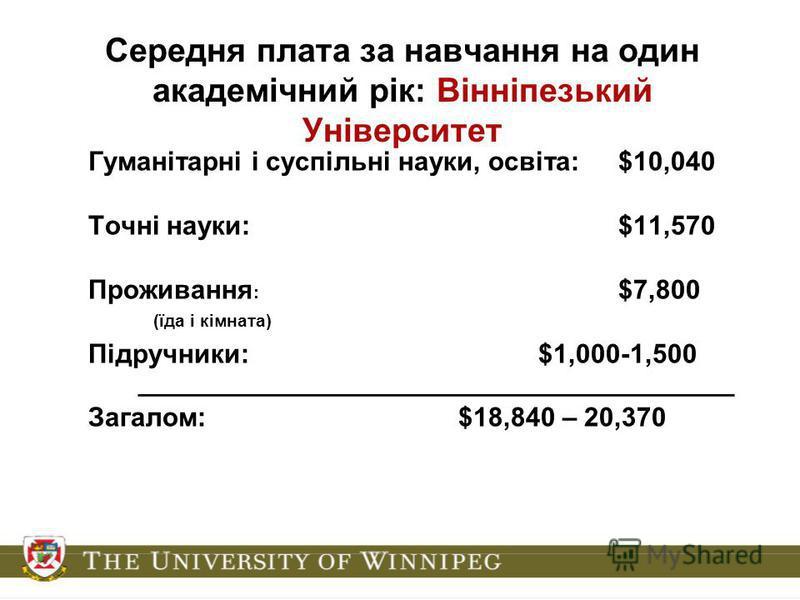 Середня плата за навчання на один академічний рік: Вінніпезький Університет Гуманітарні і суспільні науки, освіта:$10,040 Точні науки:$11,570 Проживання : $7,800 (їда і кімната) Підручники:$1,000-1,500 ________________________________________ Загалом