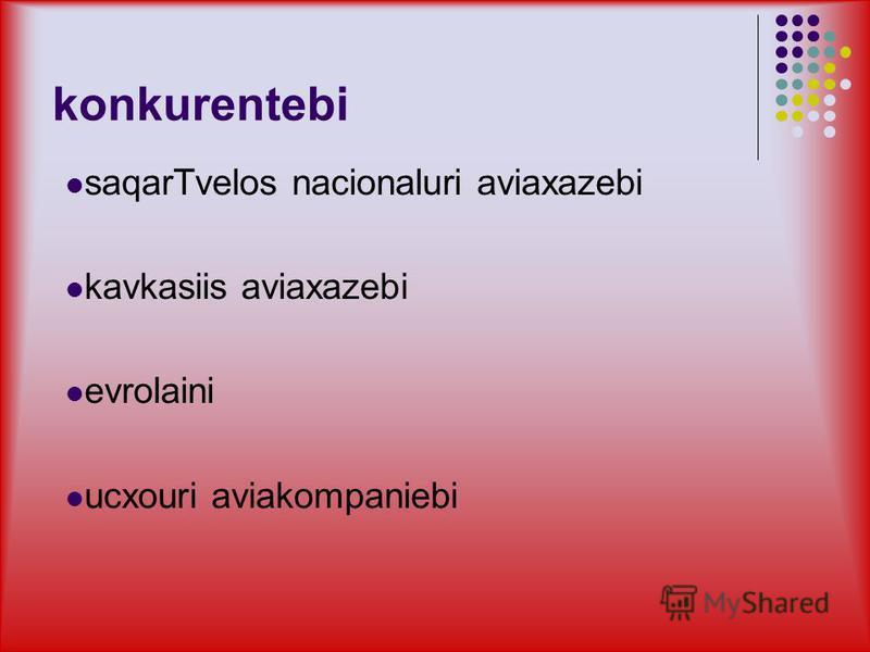 konkurentebi saqarTvelos nacionaluri aviaxazebi kavkasiis aviaxazebi evrolaini ucxouri aviakompaniebi