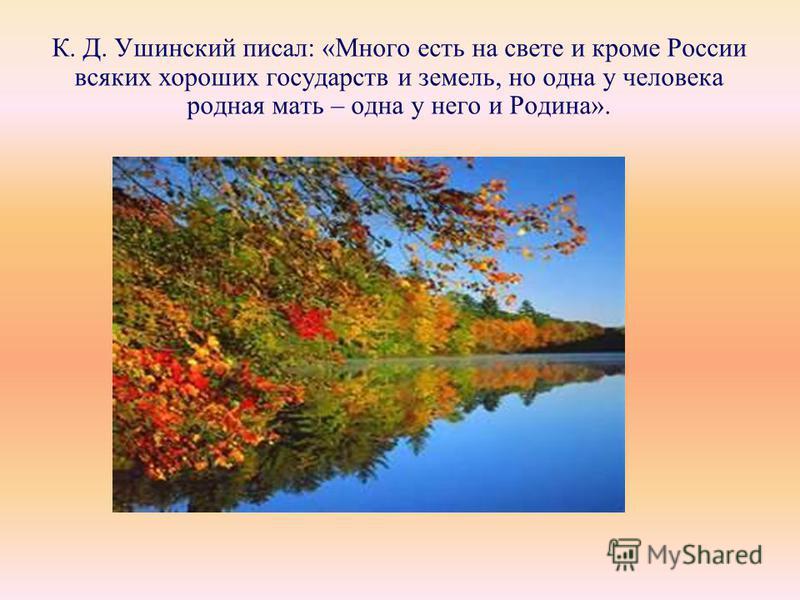 К. Д. Ушинский писал: «Много есть на свете и кроме России всяких хороших государств и земель, но одна у человека родная мать – одна у него и Родина».