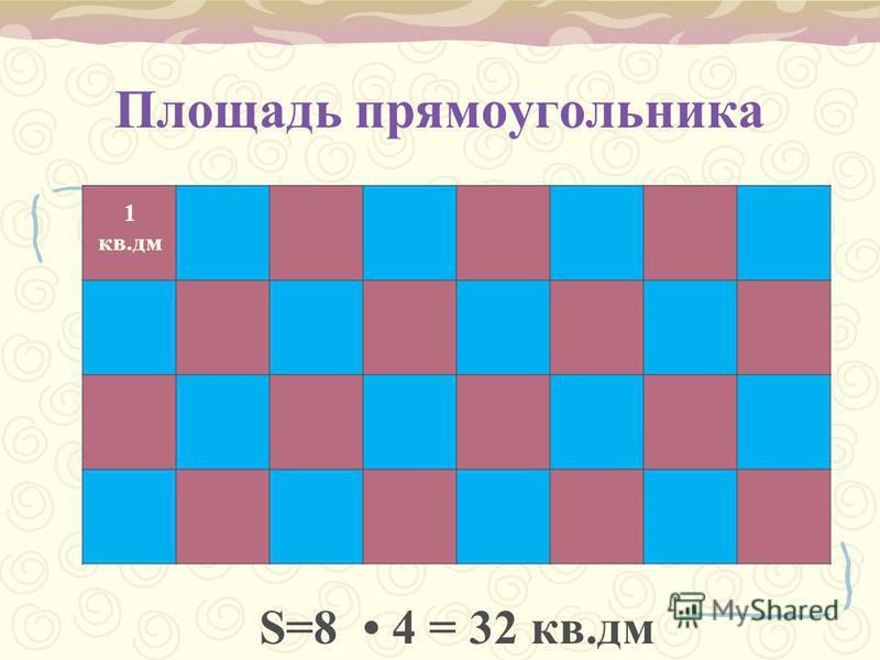 Площадь прямоугольника 1 кв.дм S=8 4 = 32 кв.дм