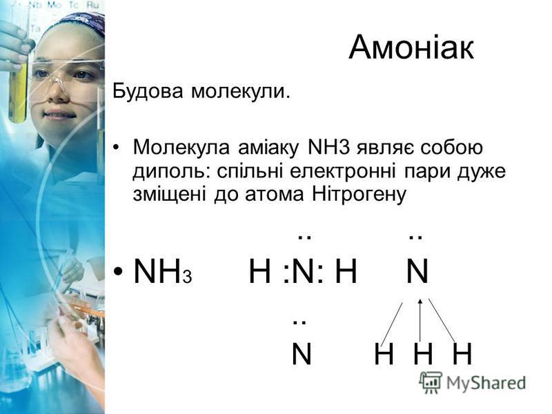 Будова молекули. Молекула аміаку NH3 являє собою диполь: спільні електронні пари дуже зміщені до атома Нітрогену.... NH 3 H :N: H N.. N H H H