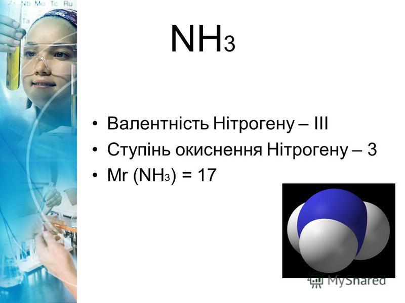 NH 3 Валентність Нітрогену – ІІІ Ступінь окиснення Нітрогену – 3 Mr (NH 3 ) = 17