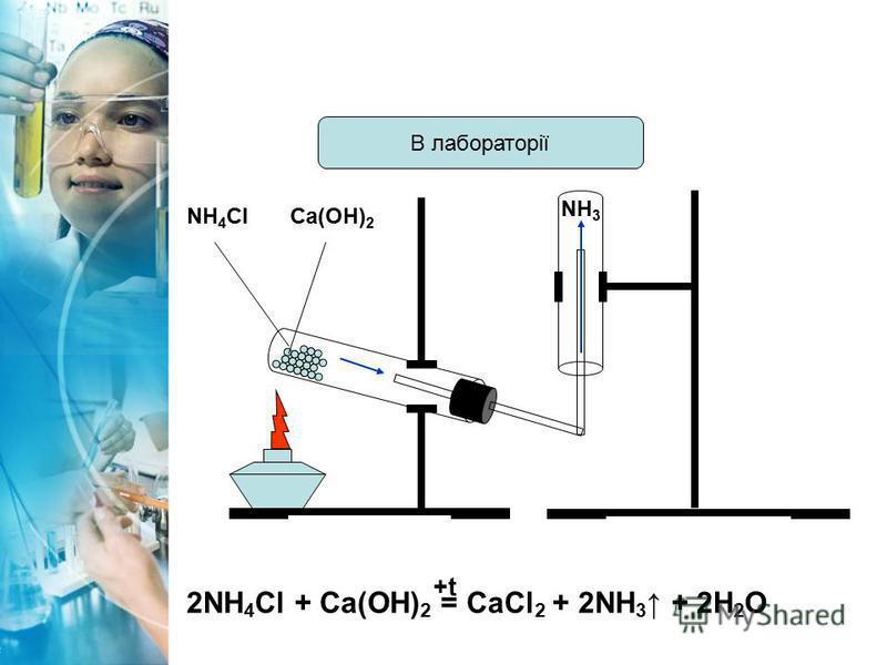 В лабораторії 2NH 4 Cl + Ca(OH) 2 = CaCl 2 + 2NH 3 + 2H 2 O +t NH 4 ClCa(OH) 2 NH 3