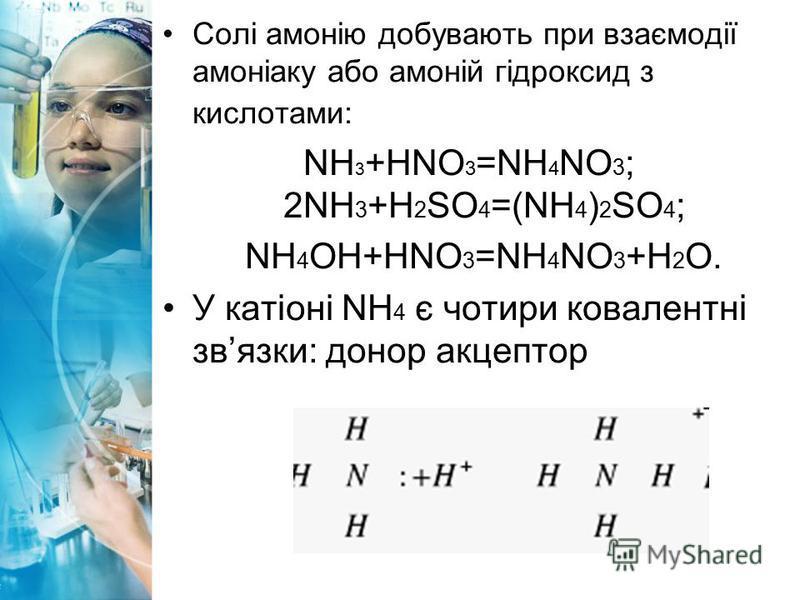 Солі амонію добувають при взаємодії амоніаку або амоній гідроксид з кислотами: NH 3 +HNО 3 =NH 4 NО 3 ; 2NH 3 +H 2 SO 4 =(NH 4 ) 2 SO 4 ; NH 4 OH+HNO 3 =NH 4 NO 3 +H 2 O. У катіоні NH 4 є чотири ковалентні звязки: донор акцептор