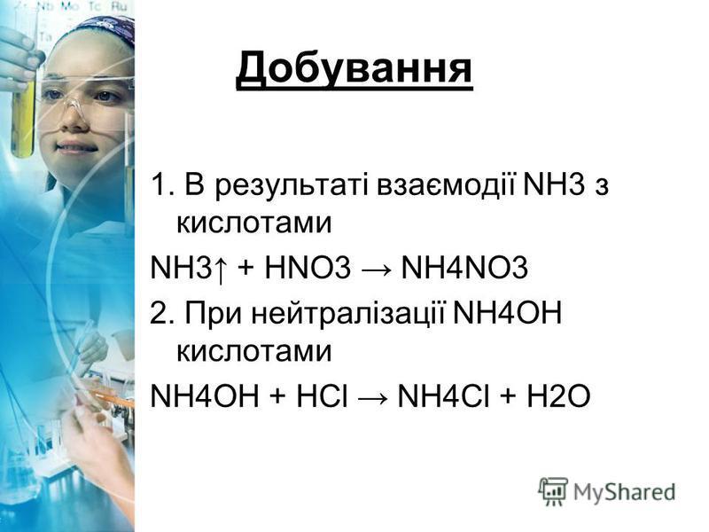 Добування 1. В результаті взаємодії NH3 з кислотами NH3 + HNO3 NH4NO3 2. При нейтралізації NH4ОН кислотами NH4ОН + HCl NH4Cl + Н2О