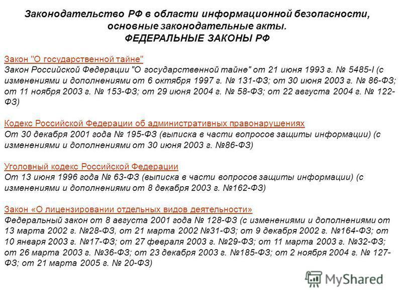 Законодательство РФ в области информационной безопасности, основные законодательные акты. ФЕДЕРАЛЬНЫЕ ЗАКОНЫ РФ Закон