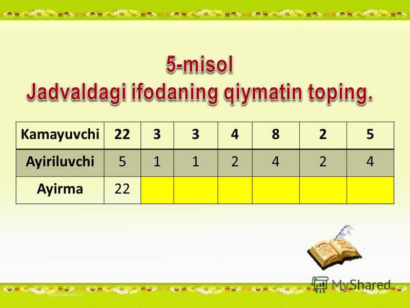 Kamayuvchi22334825 Ayiriluvchi5112424 Ayirma22