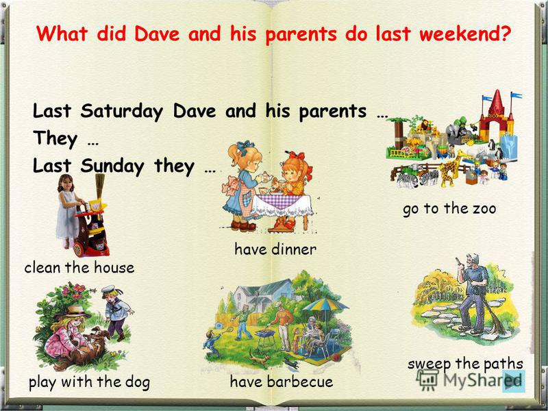 What did Dave and his parents do last weekend? Last Saturday Dave and his parents … They … Last Sunday they … clean the house play with the dog have dinner have barbecue go to the zoo sweep the paths