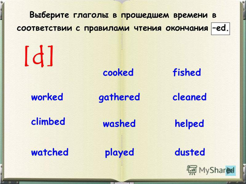 Выберите глаголы в прошедшем времени в соответствии с правилами чтения окончания –ed. [d] cleanedgatheredworked helpedwashed climbed dustedplayedwatched cookedfished