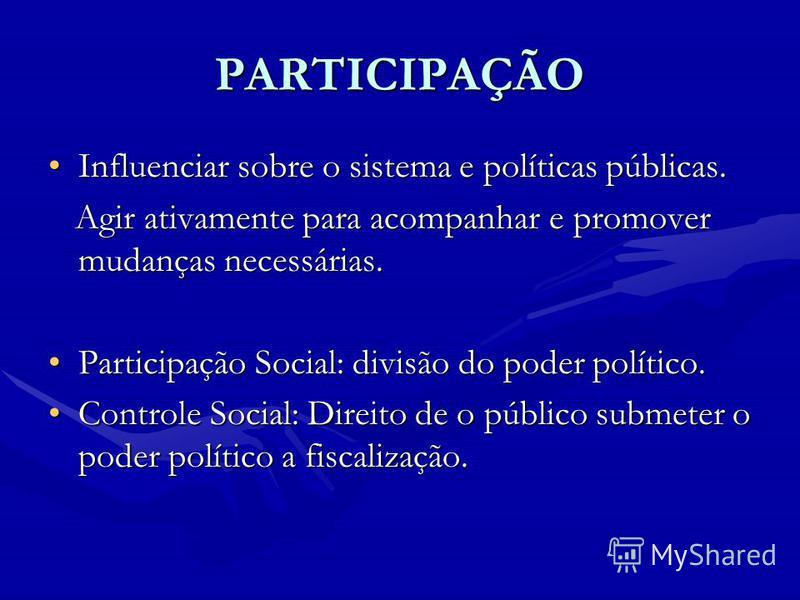 PARTICIPAÇÃO Influenciar sobre o sistema e políticas públicas.Influenciar sobre o sistema e políticas públicas. Agir ativamente para acompanhar e promover mudanças necessárias. Agir ativamente para acompanhar e promover mudanças necessárias. Particip