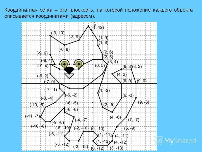 Координатная сетка – это плоскость, на которой положение каждого объекта описывается координатами (адресом).