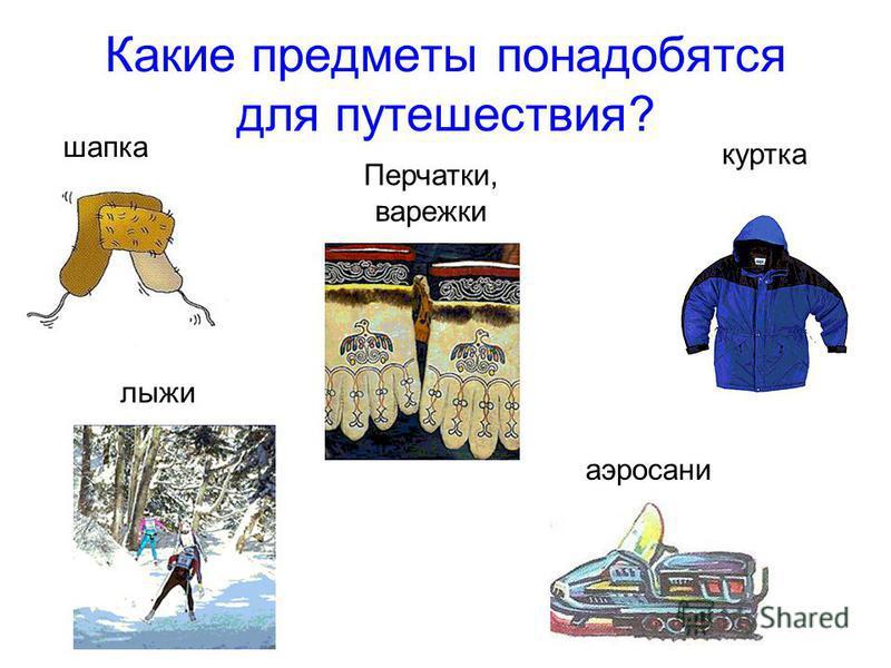 Какие предметы понадобятся для путешествия? шапка куртка Перчатки, варежки лыжи аэросани