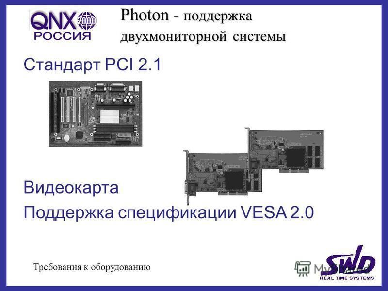 Photon - поддержка двух мониторной системы Стандарт PCI 2.1 Требования к оборудованию Видеокарта Поддержка спецификации VESA 2.0