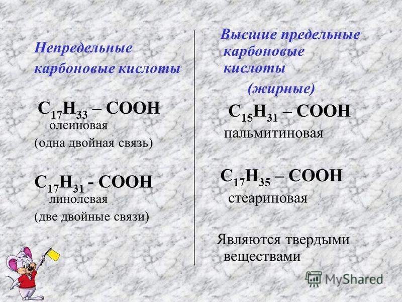 Непредельные карбоновые кислоты С 17 Н 33 – СООН олеиновая (одна двойная связь) С 17 Н 31 - СООН линолевая (две двойные связи) Высшие предельные карбоновые кислоты (жирные) С 15 Н 31 – СООН пальмитиновая С 17 Н 35 – СООН стеариновая Являются твердыми