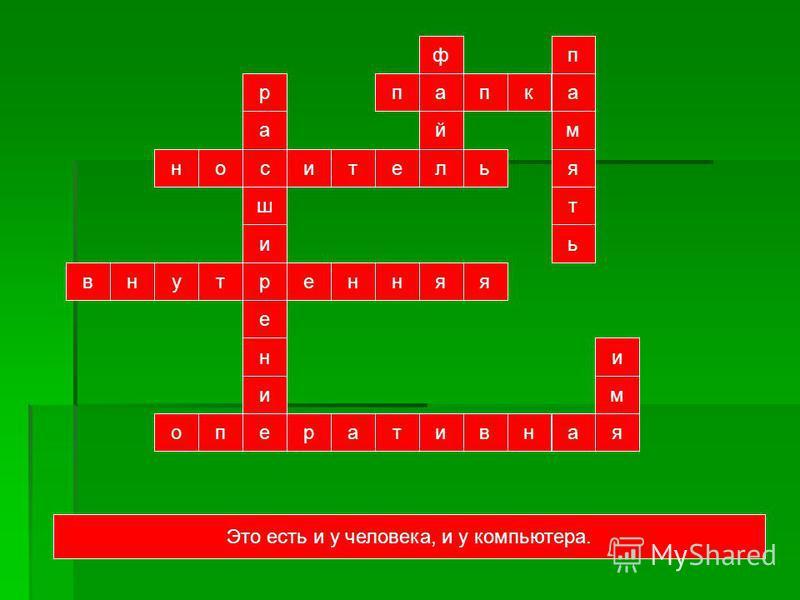 внутренняя ш с а р и е н и е обитель й а ф пика п мять портативная м и Материальный объект, используемый для хранения на нем информации Место для хранения файлов.Собственная или … память компьютера.Название файла состоит из имени и ….Моментально загр